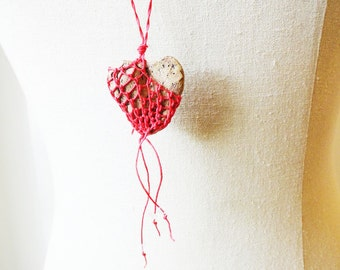 My Heart's On Fire, CUSTOM Heart Shaped Faux Stone Necklace Pottery and Fiber, Red