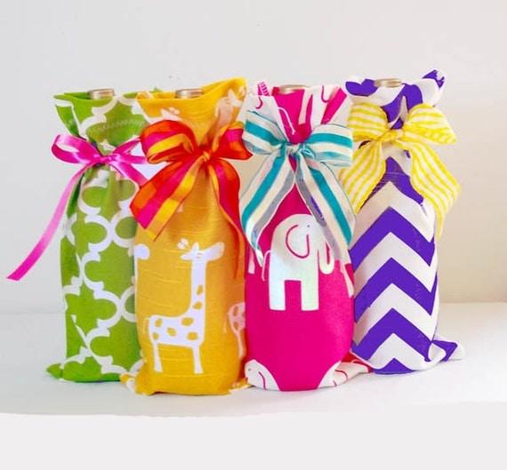 Baby Shower Hostess 4 Pack Wine Bags Giraffe And Elephant