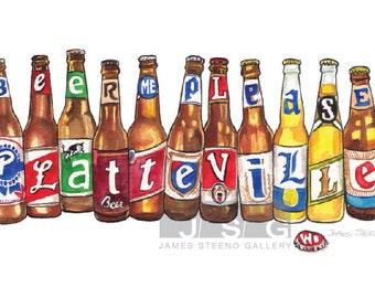 """Platteville Spelled in Beer Bottles Illustrated Watercolor Art Print """"Beer Me Please"""" by James Steeno"""