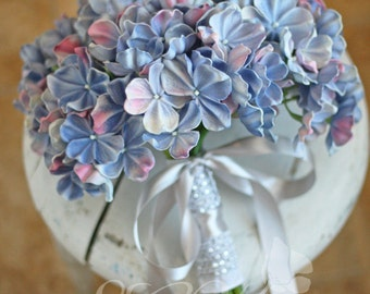 Real Touch Periwinkle Blue Hydrangea Wedding Bouquet - Something Blue Bouquet