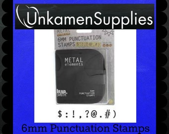 6mm Punctuation Metal Stamp Set - Stamping Disc Sample Included