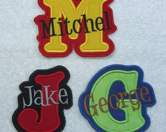Iron on Personalized Single Name Patch with Monogram (boy colors) Fabric Embroidered Iron On Applique Patch MADE TO ORDER