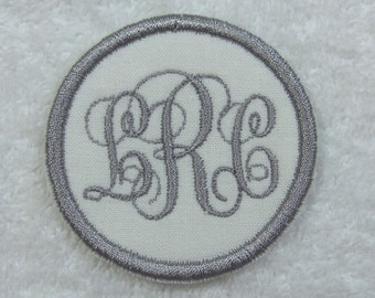 Mini Triple Monogram Embroidered Iron On Applique Patch MADE TO ORDER