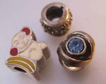 Three Sterling Silver & Enamel Slide Charms Monkey Plus More Supplies Crafts FREE SHIPPING