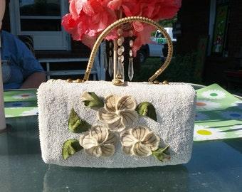 Vintage 50s Seed Bead Velvet and Wicker Ladies Summer Handbag Purse