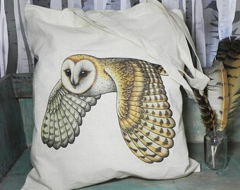 Barn Owl Illustration Eco Tote Bag ~ 100% Cotton Long Handles