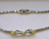 Jomaz Rhinestone and Pearl Necklace Choker 1950s
