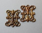 Oxidized Brass Art Deco Floral Filigrees