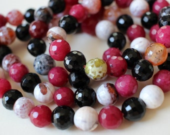 Full Strand 8mm Faceted Round Multi Color Agate Pink Black And White
