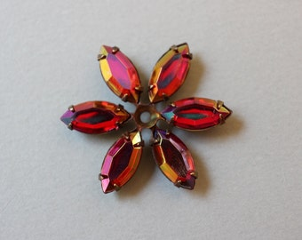 Vintage Oxidized Brass And AB Fuschia Flower Findings