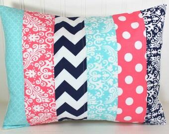 Pillow Cover, Nursery Cushion Cover, Baby Girl Nursery Decor, Pillow Cover, 12 x 16 Inches,Coral Pink, Navy Blue, Aqua Blue, Chevron, Damask