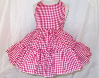 Hot Pink Gingham Twirly Halter Dress Sundress with full ruffled skirt Infant Baby Toddler Girls Square Dance Twirly Dress, Your Choice Color