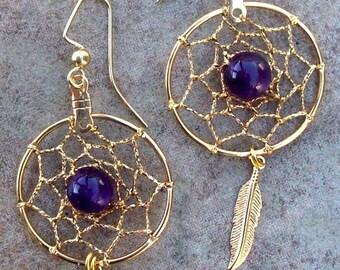 AMETHYST& GOLD Dream catcher earrings, dreamcatcher earrings, dangly gold dream catcher earrings