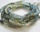 Moss Aquamarine Shaded Faceted Rondelles 3.5MM Half Strand