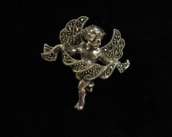 Marcasite Cupid Pin,Cupid/Angel Pin/Brooch/Broach,Silver Cupid Pin Brooch Marcasite Accents,Marcasite Jewelry,Marcasite Brooch,Marcasite Pin