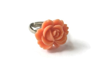Rose Ring Flower Rings Peach Adjustable Silver band  Handmade by Frutti Tutti Bead Candy