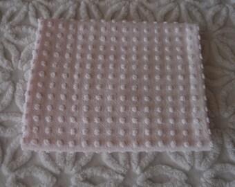 "Vintage Chenille Morgan Jones Pale Pink Popcorn Fabric piece 18"" x 24"" - 400-44"