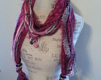 One of a Kind Hand Made Fashion Scarf in Pink Colorway