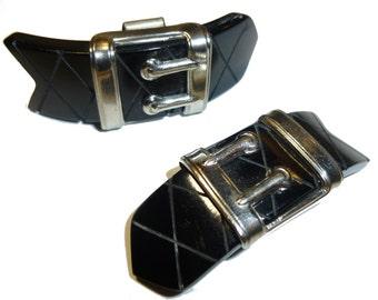 Black Bakelite Buckle Shoe Clips.  Carved Bakelite and Chrome. 1930s.