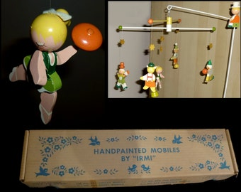 Charming IRMI Handpainted Circus Mobile with Original Box. Vintage 1960s Nursery Decor.