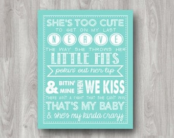 She's My Kinda Crazy - Country Song Lyrics - Printable Typography Quote DIGITAL DOWNLOAD