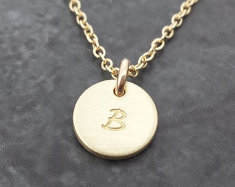 Personalized Gold Necklace - Tiny and Dainty Solid Gold Initial Necklace