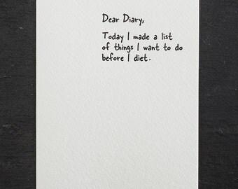 diet. letterpress card. #854