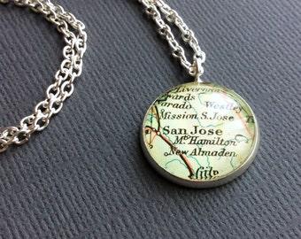 Custom Pendant, Wedding Jewelry, Vintage Maps, Unique Necklace