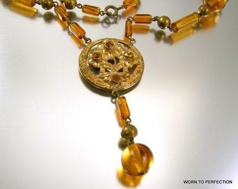 Art Deco Czech Glass Necklace Topaz Colored