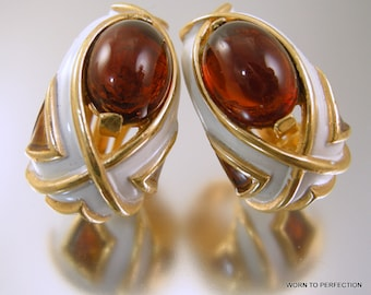 Trifari Enamel and Amber Glass Clip On Earrings