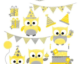 ON SALE owl clip art - digital clipart, Happy Birthday Owls- yellow and grey- cake- bunting- instant download