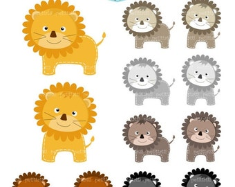 ON SALE Lion clip art - Digital clip art , cute animal, black, brown, grey, lion, instant download clip art