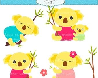 ON SALE Koala bear clip art - cute Koala clip art, hot pink, blue, Digital clip art, instant download clip art