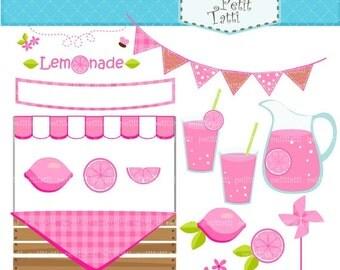 ON SALE Pink lemonade clip art - summer Digital clip art, Lemonade pink summer, pink lemon, instant download, clip art