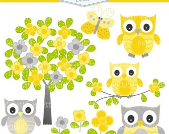 ON SALE owls clip art - kids, birthday parties clip art, INSTANT Download, Owls and flowers tree 4, owls clip art, butterfly, yellow