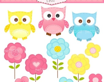 ON SALE owls clip art, flowers clip art - Digital clip art, cute Owls and Flowers, instant download clip art