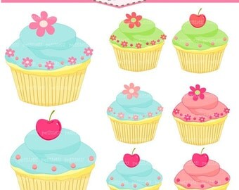ON SALE cupcake clip art - cake clip art, cupcakes clip art, blue, pink, green, cupcake , Instant Download, sweet clip art