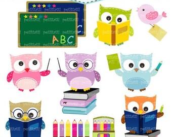 ON SALE school owl clipart -  owls clip art, Digital clipart, Back to school clipart, classroom clip art, study:, education