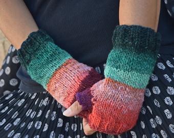 Noro Kureyon wrist warmers wool colorful Christmas gift