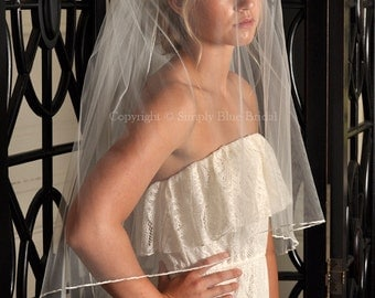 Two Tier Bridal Veil, Wedding Veil Two Tier, Pencil Edge Veil - Ivory, White, Diamond White, Light Ivory, Champagne, Blush