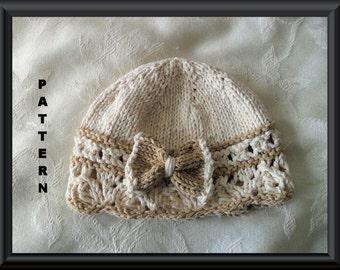 Baby Hat Pattern Knitted Hat Pattern Newborn Hat Pattern Infant Hat Pattern Knit Hat Pattern Baby Girl Clothing: BOW REGARD
