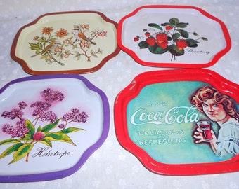 Metal serving trays set strawberries, coke, flowers birds