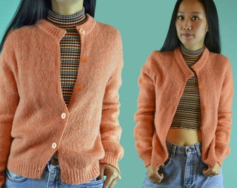 Vintage 50s Cardigan Sweater / Womens Mohair Wool Cardigan / 1950s Button Front Sweater / Tangerine Orange Womens Knitted Cardigan M