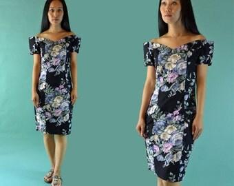 Vintage 80s Dress / Off Shoulder Dress / Romantic Floral Revival Dress / Sweetheart Neckline Dress / Cotton Floral Summer Party Dress XS / S