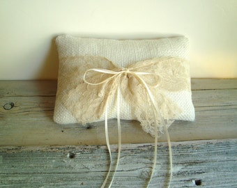 Ringbearer pillow in white/light ivory burlap with vintage lace wrap