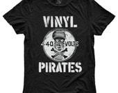 Vinyl Pirates, 100 Percent Cotton T-shirt, Vintage Black, unisex