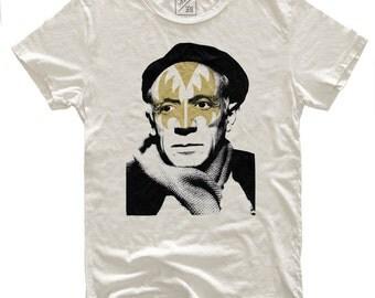 Pikisso, 100 Percent Cotton Vintage White T-shirt, unisex
