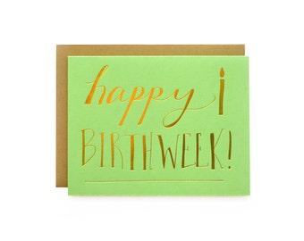 Birthweek - single letterpress card