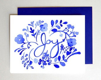 50% Off SALE - Joy Card Single - Hand Painted - Illustration - Watercolor - Delft - Blue - Navy - Floral - Flowers