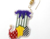 Patchwork Christmas Stocking Ornament Tree Decoration in freehand beadwork loom stitch with custom hanger